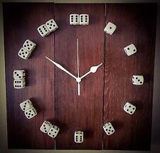 Wall Clock - Wooden Handmade In U.K. Dice Design.