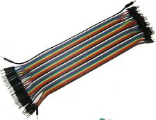 40pcs Dupont wire dei cavi jumper 20cm 2,54 mm maschio a maschio 1p-1p per Arduino