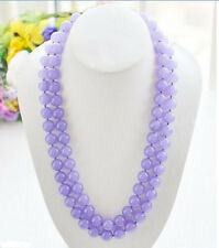 "Beautiful 10mm Natural Lavender Jade Round Gemstone Beads Necklace 36""Long AAA"
