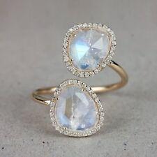 Genuine Moonstone Gemstone Wrap Cocktail Ring Diamond Pave Solid 14k Yellow Gold