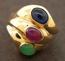 14K yellow gold 4.50CT emerald ruby sapphire cocktail ring size 7.25