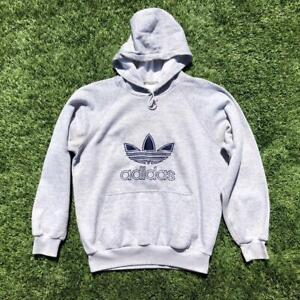 VTG 80s/90s Adidas Originals Trefoil Embroidered Silver Tag Hoodie Sweat Shirt L