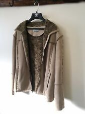 Point Zero Classic Rare Zip Up FURRY LINED MENS JACKET COAT Faux Fur M Medium
