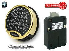 SecuRam Safelogic BackLit Lock & Keypad Kit - Swingbolt - Brass Finish