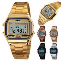 2018 Mens Digital Quartz Wrist Watch Waterproof Sport Army LED Stainless Steel
