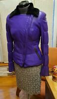 XS-S 100% real shearling coat jacket women  sheepskin purple