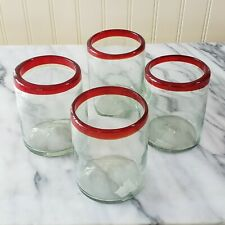 """NEW Set of 4 Hand Blown Glasses with Red Rim 4"""" Tumblers from Mexico"""