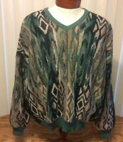St. Croix Shop VTG 90s Hip Hop Biggie Sweater Green Abstract V Neck Wool XL