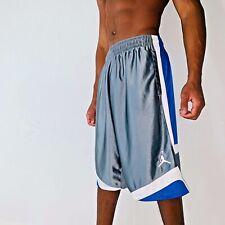 Super Rare Jordan Nike Basketball Dazzle Shorts Sexy Blue Silver White YL Men Sm