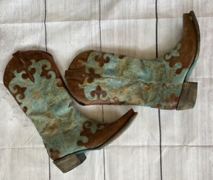 """Lane Cowgirl Turquoise and Brown """"Dawson"""" Boots LB0023A sz Womens 7.5B"""
