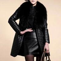Women Faux Leather Fur Collar Long Sleeve Coat Jacket Outerwear Overcoat LIU