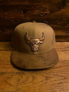 Chicago Bulls New Era 59Fifty Fitted Hat Brown Suede Bill NBA Cap Size 7 3/4
