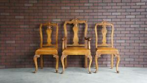 Antique French Carved Arm Chair ~ Petite French Provincial Chairs ~ Set of 3