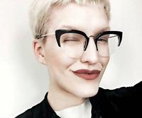 Women Cat Eyes Plain Glasses Clear Retro Vintage Large Eyeglasses Brand Glasses