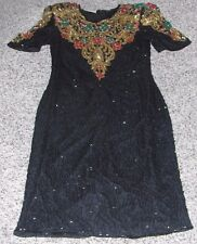 Scala black silk beaded dress,gold,red,green floral beaded shoulder Sz S