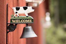 Cast Iron Black & White Pig Welcome Dinner Bell