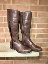 Cole Haan Tall Brown Leather Zip Up Riding Boots Women Size 7.5 B Fast Shipping