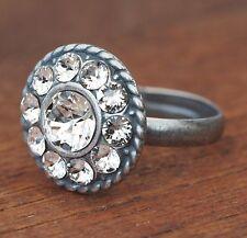 Neu 16mm RING mit SWAROVSKI STEINE in crystal/kristallklar GRÖßENVERSTELLBAR