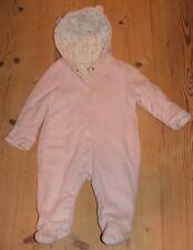 Girls John Lewis Pink Velour Padded Snowsuit Pramsuit Coat Age 3-6 months