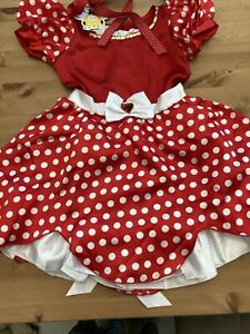Red Minnie Mouse Style Disney Dress With Underskirt Spot Bow New Tags 5-6 Yrs