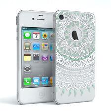 Hülle für Apple iPhone 4 / 4S Schutz Cover Handy Case Motiv Türkis / Weiß