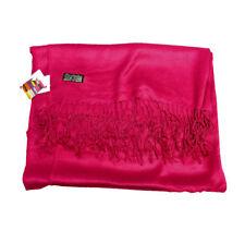 Hot Pink Fushia Satin Sateen Pashmina Scarf Viscose Plain Wrap Shawl Stole Sheen