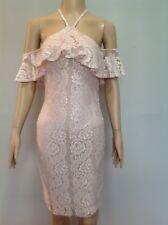 LIPSY LUREX LACE HALTERNECK BODYCON DRESS. Size 8