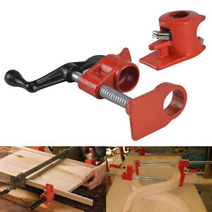 Heavy Pipe Clamp 1/2'' Straight Wood Gluing Set Woodworking Cast Carpenter Tools