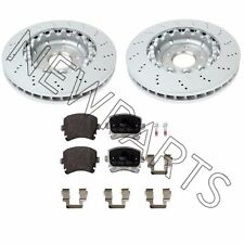 Audi RS4 Set of Rear Left & Right Vented Drilled Disc Brake Rotors w/ Pads OEM
