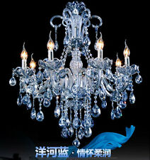 new listed 8 arms/bulbs modern water blue crystal light chandelier bedroom lamp