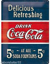 COCA COLA Vintage Metal Retro Tin Signs Embossed Coke Large sign