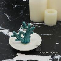 White Trinket Tray w/Sea Green Coral Reef Ceramic Jewelry Treasure Ring Tray