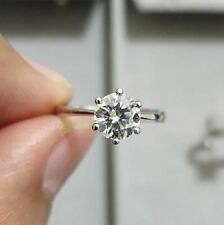 2Ct Round Cut White Moissanite Engagement Wedding Ring 925 Sterling Silver