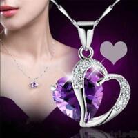 Women Heart Crystal Rhinestones Silver Chain Pendant Necklace Jewelry Free Ship
