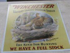 RARE Winchester Vintage Tin Sign Shotgun Shells Grouse Drummer Hunting