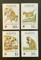 WWF. St Kitts. Green Monkey Stamp Set. MNH (W38)