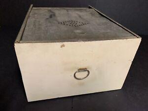 Antique Vtg Hoosier Style Cabinet Metal Drawer Bread Box Tin Punch Door Cream