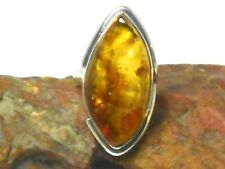 Cognac  AMBER  Sterling  Silver  925  Gemstone  RING  -  Size: N