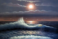 Beach Moon Sun Surf Blue Black & White Seascape Dramatic Oil Painting STRETCHED