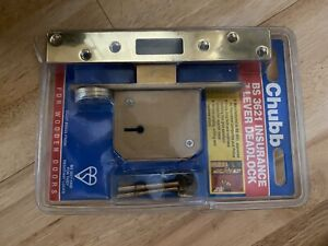 Chubb BS 3621 Insurance 7 Lever Deadlock For Wooden Door In Brass Finish