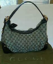 Authentic Gucci Large GG Monogramed Hobo Bag Tan Pre-Owned