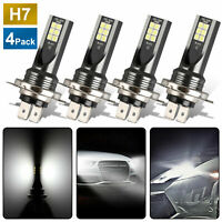 4Pcs Mini H7 + H7 Combo LED Headlight Kit Bulbs High Low Beam 240W 52000LM 6000K