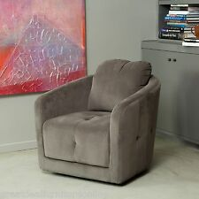 Modern Design Grey Microfiber Fabric Swivel Armchair