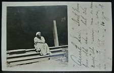 "RPPC 1909 PENNSYLVANIA - BLACK MAMMY ""Aunt Sue"" Sitting on old stairs - SCARCE"