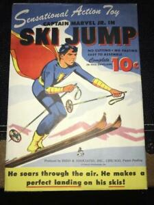 Captain Marvel Jr. Ski Jump Paper Punch Out Toy (1940s) Fawcett Publications
