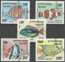 Timbres Poissons Cambodge 1292/6 o lot 1235