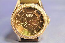 Fossil Chronograph  Black  Acrylic Band Rhinestone Watch ES245 10 ATM CC