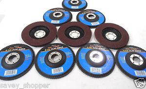 """SANDING DISC 10 PC. 4 1/2"""" INCH X 7/8""""  FLAP 120 GRIT WHEEL  ALUMINUM OXIDE"""