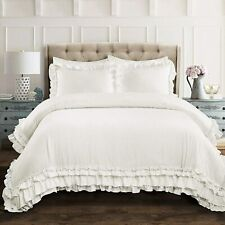 Lush Decor White Ella Shabby Chic Ruffle Lace 3 pc King Comforter Set
