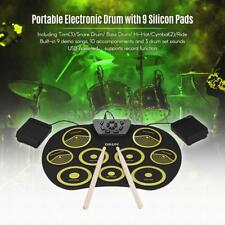 Portable Electronic Drum Set Roll Up Drum Kit 9 Silicon Pads USB Powered X1J1